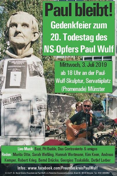 """""""Ich lehre Euch Gedächtnis"""": Gedenkfeier zum 20. Todestag des NS-Opfers Paul Wulf am 3. Juli 2019"""